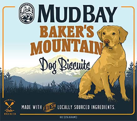 Mud Bay Baker's Mountain dog biscuit packaging art showing the namesake labrador, Baker