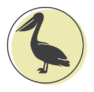A representation of a pelican on a green circle