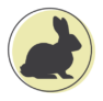 A representation of a rabbit on a green circle