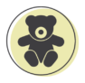 A representation of a teddy bear on a green circle