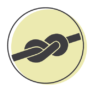A representation of a rope dog toy on a green circle