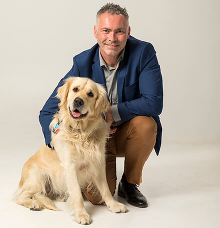 Dr. Mark Roberts, Nutritionist at K9 Natural and his dog