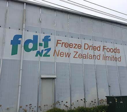 Exterior of freeze drying facility in New Zealand