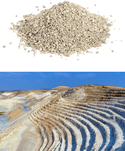 A pile of clay cat litter above a photo of a bentonite clay strip mine