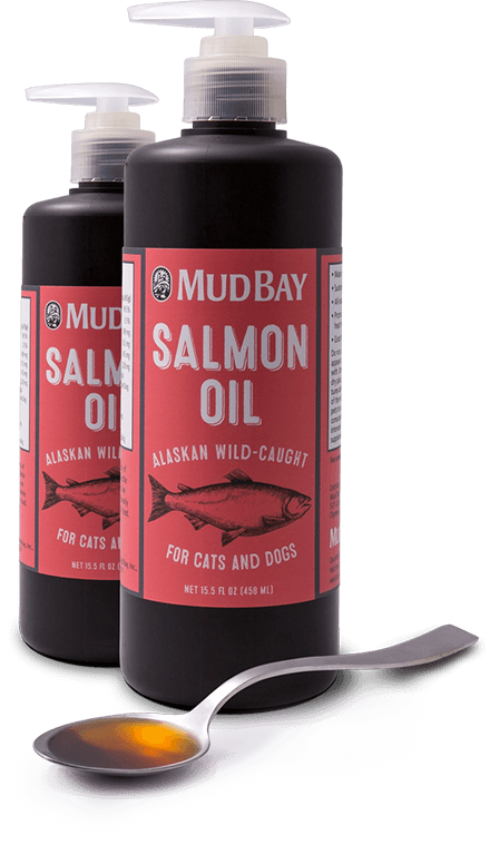 Bottles of Mud Bay brand salmon oil next to a spoonful of the oil.