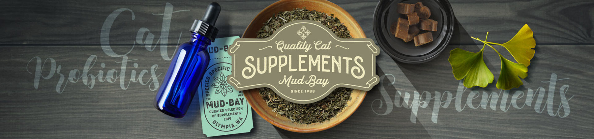 banner with different cat supplements in different forms