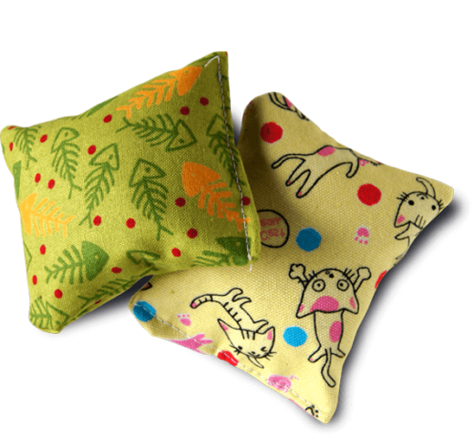 Two colorful catnip pillow toys