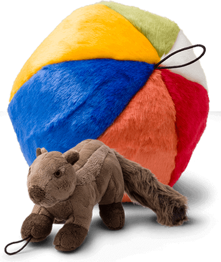 A plush dog toy that looks like a colorful beach ball and a plush toy in the shape of a squirrel