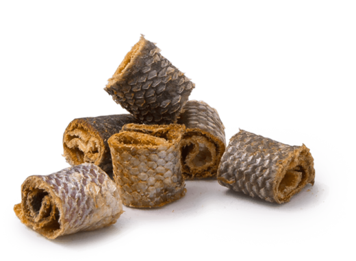 Rolled fish skin dog treats