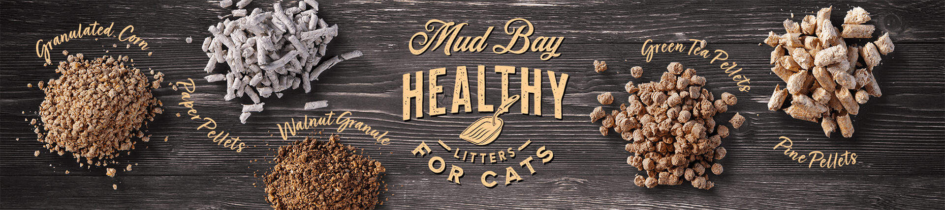 Five types of litter representing the various textures of cat litter available at Mud Bay