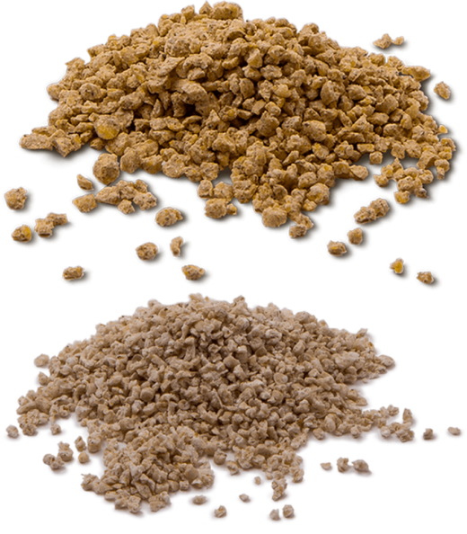 A photo of a small and medium granule cat litter