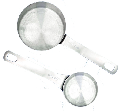 two stainless steel measuring cups