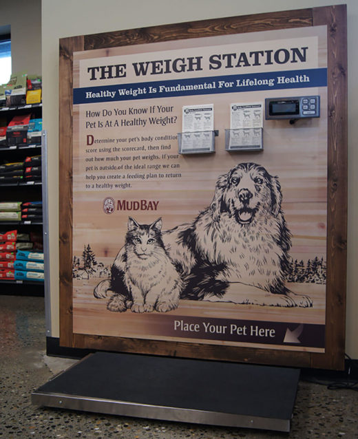 A photo of the pet weight scale in a Mud Bay store