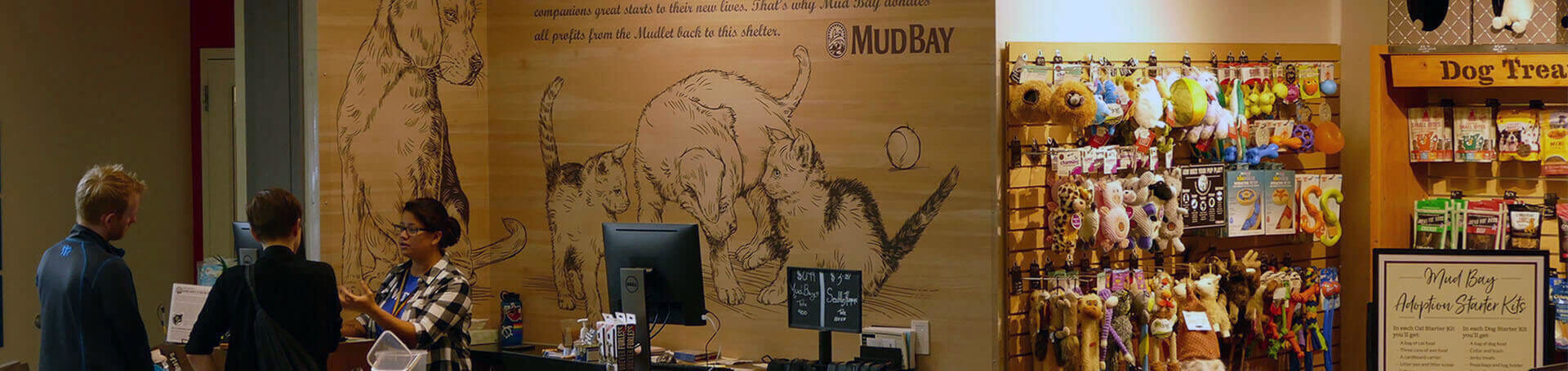 the Mudlet store with customers visiting