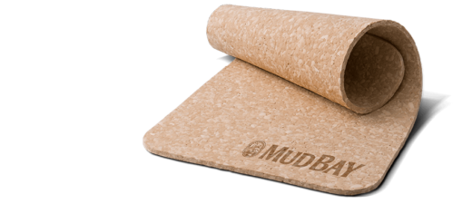 rolled cork place mat with Mud Bay logo