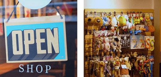 Open Shop Sign and interior of a Mud Bay