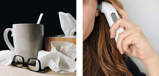 Pile of tissues and someone using a thermometer