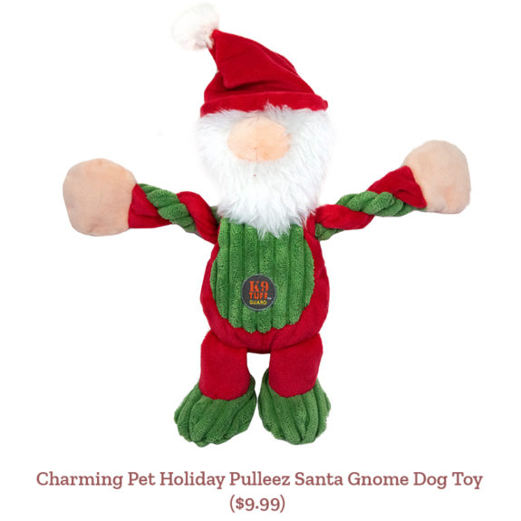 Charming Pet Holiday Pulleez Santa Gnome Dog Toy ($9.99)