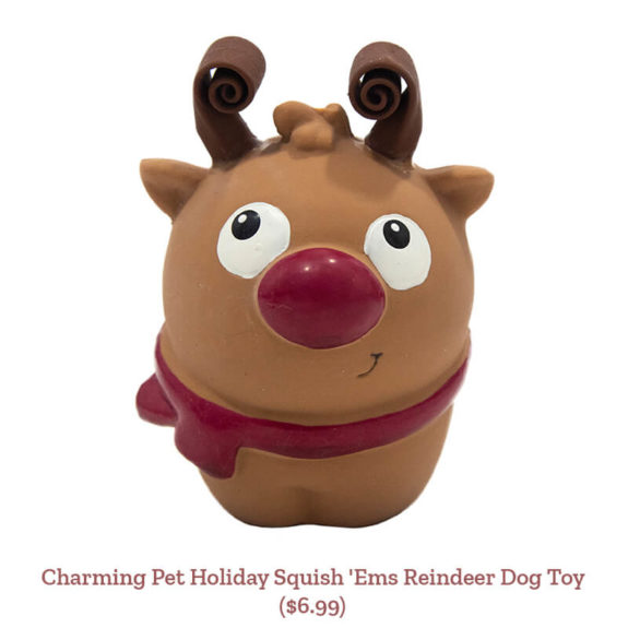 Charming Pet Holiday Squish 'Ems Reindeer Dog Toy ($6.99)