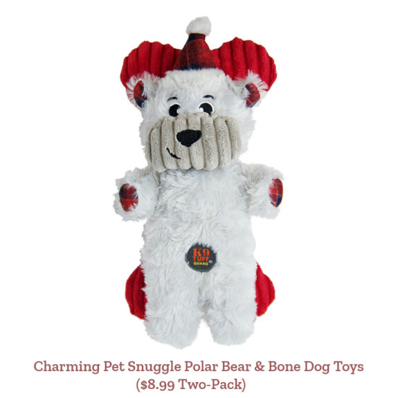 Charming Pet Snuggle Polar Bear & Bone Dog Toys ($8.99 Two-Pack)