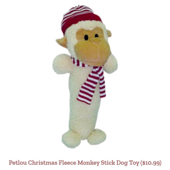 Petlou Christmas Fleece Monkey Stick Dog Toy ($10.99)
