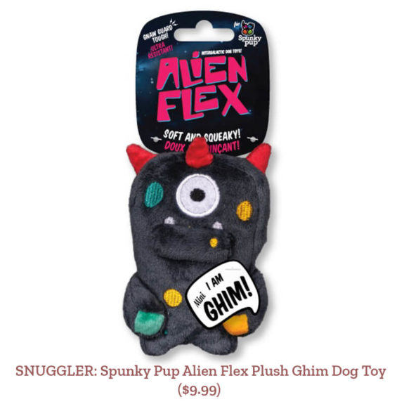 SNUGGLER: Spunky Pup Alien Flex Plush Ghim Dog Toy ($9.99)