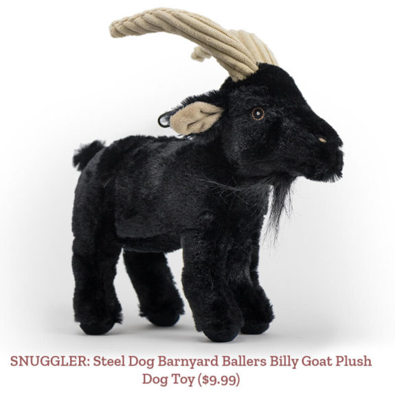 SNUGGLER: Steel Dog Barnyard Ballers Billy Goat Plush Dog Toy ($9.99)