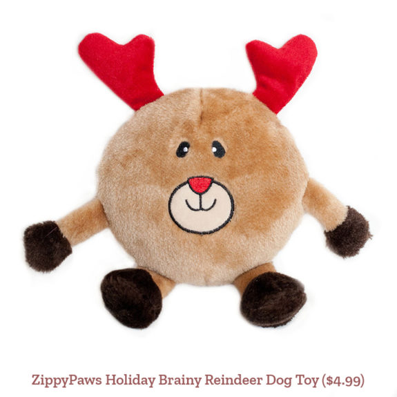 ZippyPaws Holiday Brainy Reindeer Dog Toy ($4.99)