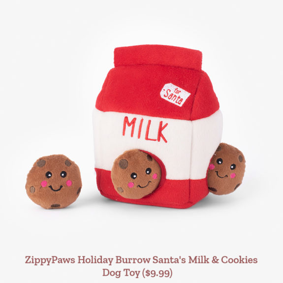 ZippyPaws Holiday Burrow Santa's Milk & Cookies Dog Toy ($9.99)