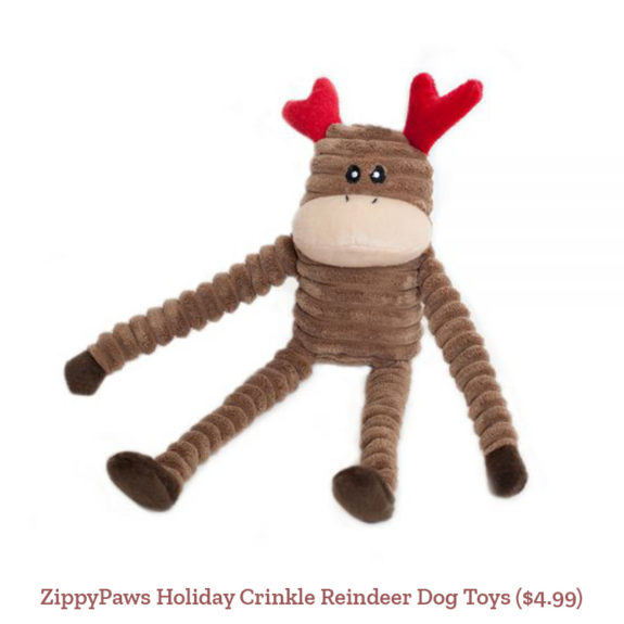 ZippyPaws Holiday Crinkle Reindeer Dog Toys ($4.99)
