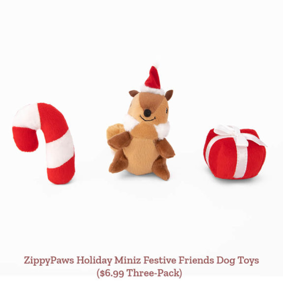 ZippyPaws Holiday Miniz Festive Friends Dog Toys ($6.99 Three-Pack)