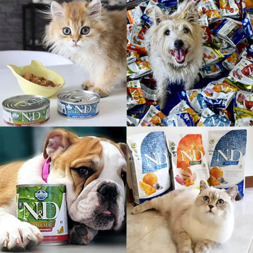 Collage of Dogs and Cats with Farmina Foods