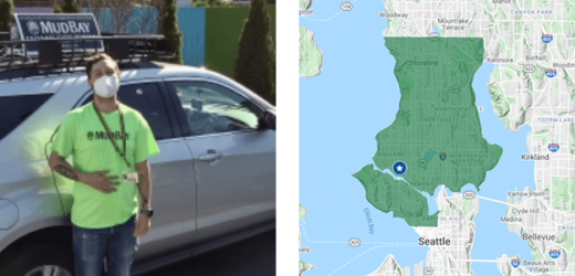 Muddy delivery driver and seattle delivery map icon